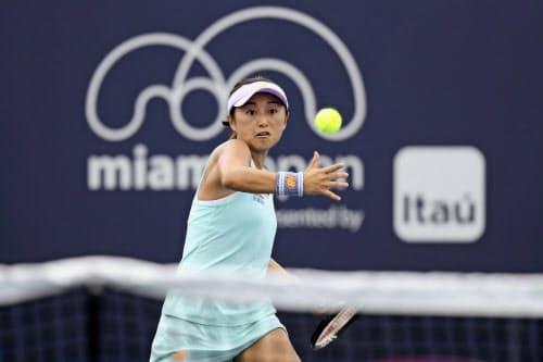 女子シングルス1回戦で、王欣瑜に勝利した土居美咲(21日、マイアミ)=ゲッティ共同