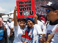 23日、インドネシア・ジョクジャカルタの大規模集会に集まるジョコ大統領の支持者