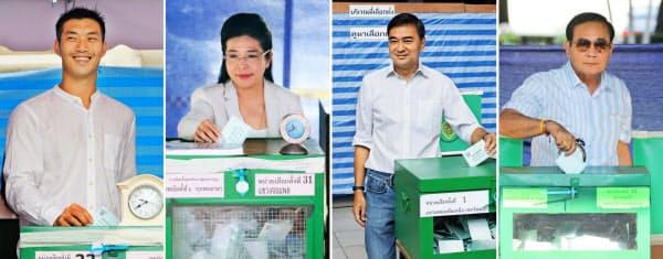 タイ総選挙で投票する(右から)プラユット暫定首相、民主党のアピシット元首相、貢献党のスダラット元保健相、新未来党のタナトーン党首(24日、バンコク)