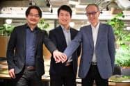MinD in a Deviceの渡辺正峰技術顧問(左)、中村翼代表(中央)、社外取締役の鎌田富久氏