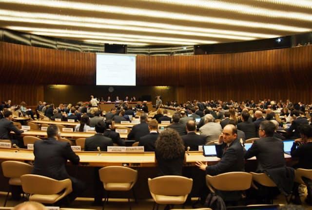 各国の利害が絡みながら規制についての議論が進む(3月、ジュネーブの国連欧州本部)