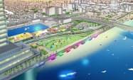万代島地区の将来図(19~23年度)。水辺に飲食店や水上カフェを誘致する