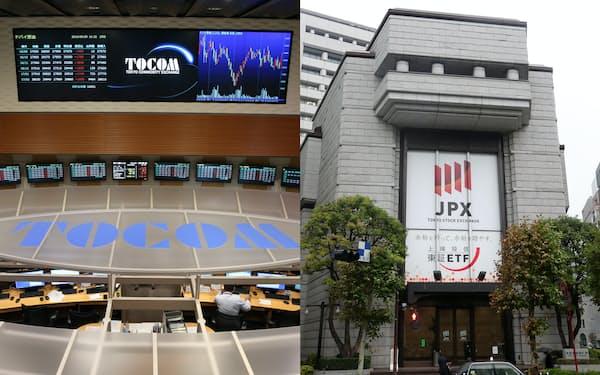 日本取引所グループ(右)と東京商品取引所