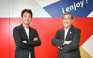 対談に臨む日本財団パラリンピックサポートセンターの山脇康会長(右)とUUUMの鎌田和樹社長(東京都港区)