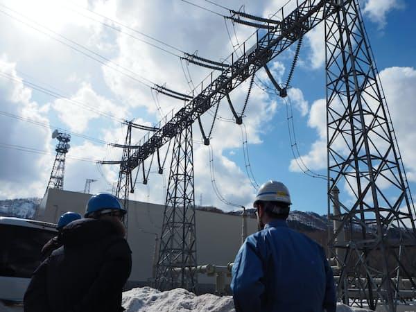 新北本連系線の送電容量は30万キロワット(28日、北海道北斗市)