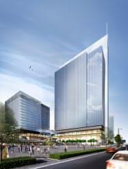 新高島駅前にできる大規模複合ビルは総投資額が約1100億円を見込む(完成イメージ)