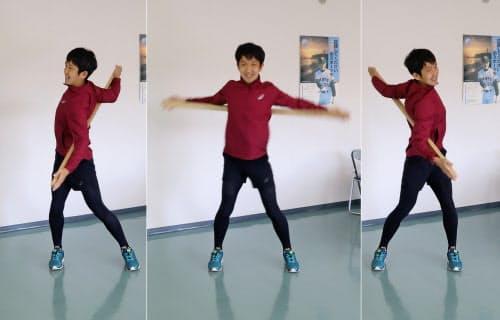 <写真(1)>背骨を軸に左右に円運動
