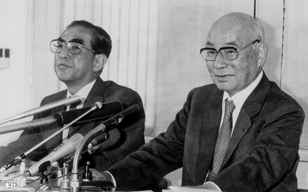石川島播磨重工業(現IHI)の航空事業の礎を築いた土光敏夫氏(右)