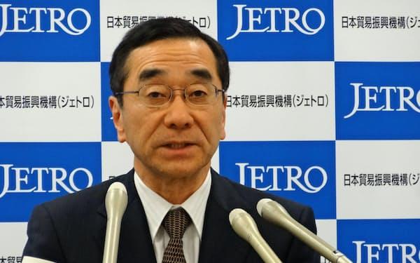 ジェトロは佐々木伸彦新理事長の就任会見を開いた(2日、東京・港)