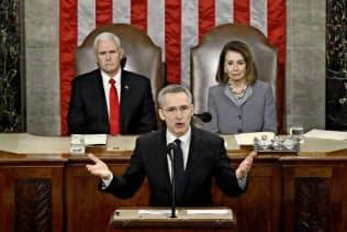 3日、NATOのストルテンベルグ事務総長は演説でロシアの脅威を強調した(ワシントン)=AP