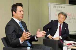 講演する黒田博樹氏(左)と池上彰氏(東京都千代田区)