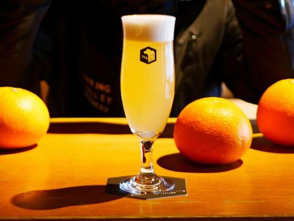 キリン子会社のスプリングバレーブルワリーが5日に発売するフルーツビール「広島県因島産はっさく」。爽やかな香りとほろ苦さが特徴