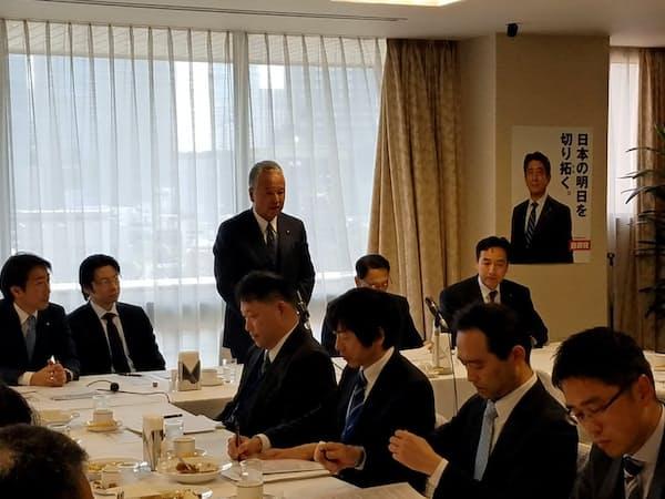 自民党本部で開いたルール形成戦略議員連盟の会合であいさつする甘利明会長(3月20日)