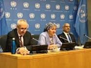 国連本部で会見するモハメッド国連副事務総長(4日、ニューヨーク)