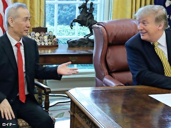 トランプ米大統領(右)と話す中国の劉鶴副首相=ロイター