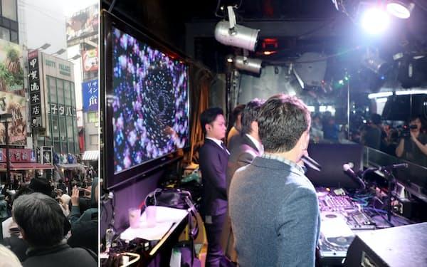 アメリカ村で若年層の有権者に向け演説する大阪府知事選候補者、大阪市長選候補者(写真左、3月31日)とクラブで若者に支持を訴える大阪市長選候補者(6日)=いずれも大阪市内
