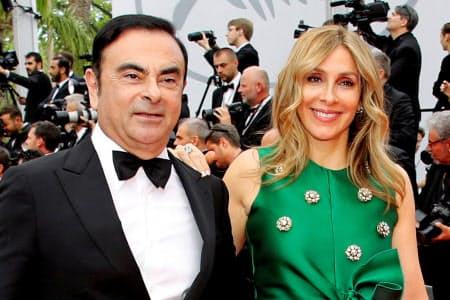 ゴーン元会長と妻のキャロルさん(2017年5月、フランス・カンヌ)=ロイター