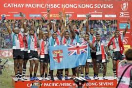 ワールドシリーズ第7戦を制したのはフィジー。決勝でフランスを21-7で破った(7日、香港)=AP
