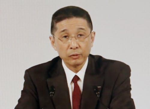 臨時株主総会で発言する日産の西川社長(8日午前、東京都内)=ユーチューブから