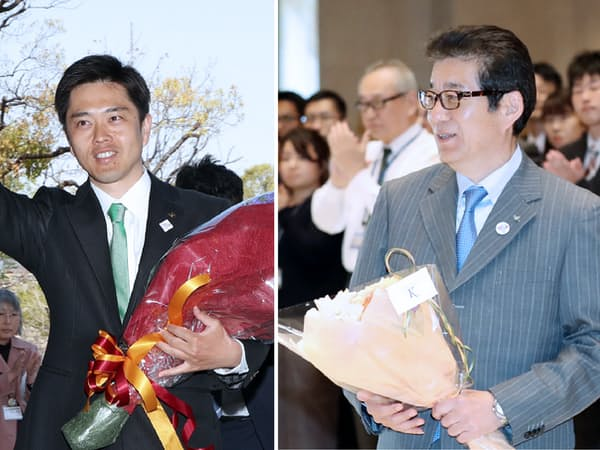 初登庁する松井大阪市長(写真右)と吉村大阪府知事(8日午後)