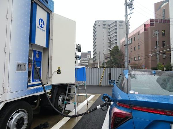 愛知県は全国でも水素ステーションが多い(豊田通商などが展開する移動式施設、名古屋市東区)