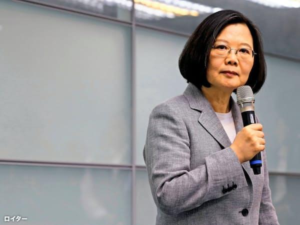 台湾の蔡英文総統は米国に台湾への一段の関与を呼びかけた(3月の台北での講演)=ロイター