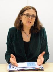 マルムストローム欧州委員は米国への対抗姿勢を強調した(10日、東京・港)