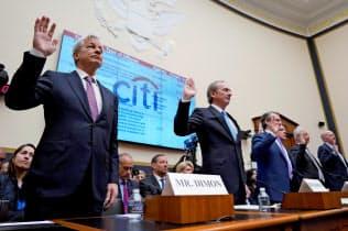 米銀CEOがそろって公聴会に出席するのは09年以来(10日、ワシントン)=ロイター