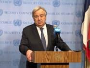グテレス国連事務総長は安全保障理事会での会合後、記者団の質問に答えた。(ニューヨーク)