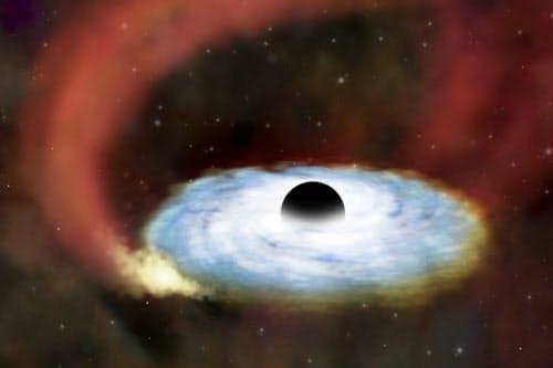 ブラックホールと周囲を取り巻くガスの想像図=NASA/CXC/SAO提供