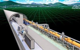 8000億円もの建設費がかかる国際リニアコライダー(ILC)の完成予想イラスト=Rey.Hori/KEK提供
