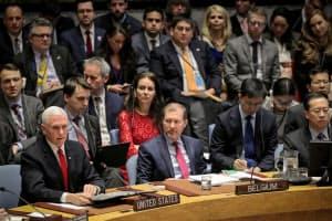 国連の安全保障理事会はリビア情勢についての緊急会合を開いた(10日、ニューヨーク)=ロイター
