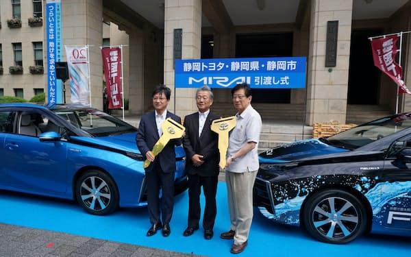 燃料電池車はトヨタ自動車など各社が普及を急ぐ(静岡県庁)