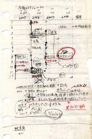 土佐礼子が夫の村井啓一と一緒に書いた、北京までの4年計画のメモ(共同)