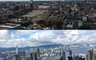 英シティー(上)の地盤沈下は香港(下)などアジア諸都市が金融ビジネスを広げる機会になる