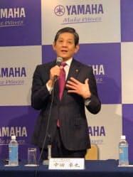 中田社長は新中計で顧客接点の強化や新興国市場での成長を掲げた(12日、浜松市)
