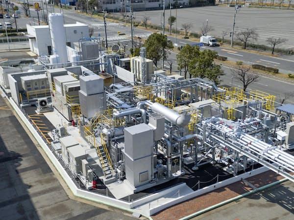 川崎重工業などが実証事業を進める水素発電所(神戸市)