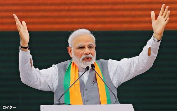 モディ首相のインド人民党は安全保障を公約の柱に掲げる=ロイター