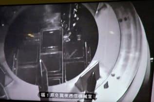 3号機の使用済み燃料プールで輸送容器に入った1体目の核燃料(東京電力福島第1原子力発電所)