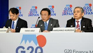 記者会見する麻生財務相(中央)と日銀の黒田総裁(右)=12日、ワシントン(共同)