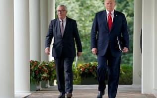 18年7月に米国とEUは貿易協議入りで合意していた=ロイター