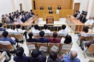 第2次普天間爆音訴訟の控訴審判決が言い渡された福岡高裁那覇支部の法廷=16日午後(代表撮影)