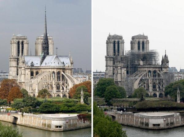 2010年9月撮影のパリ・ノートルダム寺院(写真左)と、大火災後の16日撮影の同寺院=ロイター