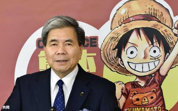 「ONE PIECE(ワンピース)」キャラクター像の設置場所を発表する熊本県の蒲島知事(17日午前、熊本県庁)=共同