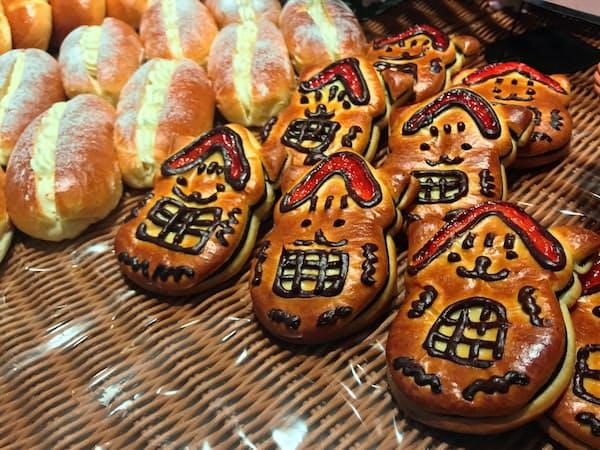 国立市のゆるキャラ「くにニャン」を模したムギオトのパン(東京都国立市)