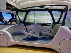 トヨタ紡織は自動運転を見据えたコンセプト車を展示した(17日、中国・上海)