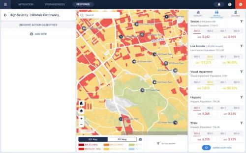 地震など災害発生時の被害状況をリアルタイムで把握できる(画面はイメージ)