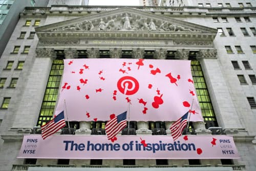 ピンタレストは未上場の急成長企業「ユニコーン」の1社として市場の注目が高かった(18日、ニューヨーク証券取引所)=ロイター