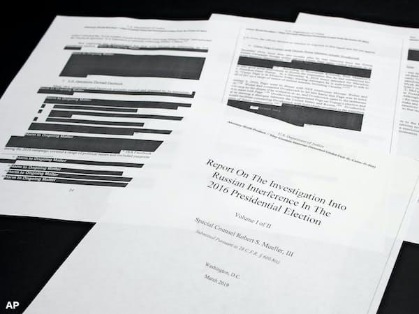 モラー氏の報告書は、進行中の捜査情報など一部が黒塗りにされた=AP