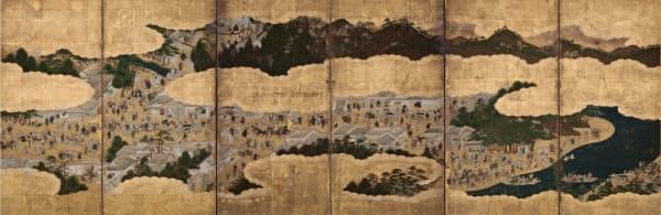 「伊勢参宮図屏風_」(右隻、17世紀、六曲一双 紙本金地着色、名古屋市博物館蔵)